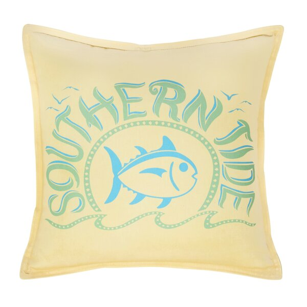 Skipjack Chino Swimming Skipjack 100% Cotton Throw Pillow by Southern Tide